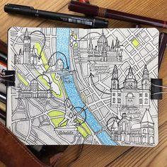 // sketchbook // Illustration Jitesh Patel Moleskine Sketch Book Moleskine map drawing of Budapest an amazing city that I traveled to last summer… Travel Sketchbook, Sketchbook Pages, Journal Pages, Sketchbook Drawings, Drawing Sketches, Moleskine, Inspiration Artistique, Travel Drawing, Travel Maps