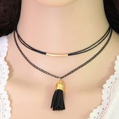 Black Tassel Decorated Choker