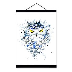 Owl Watercolor Fashion Animal Wildlife Portrait Wooden Framed Canvas Painting Wall Art Print Picture Poster Kids Room Home Decor #Affiliate