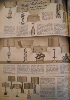 Modern lamp page-1957 Sears catalog.