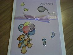 Baby card with ribbon & stickers