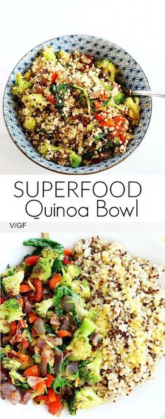 Healthy Recipes Superfood Quinoa Bowl is quick and easy, perfect dinner or lunch, packed full of healthy superfoods! Vegan Gluten Free - Superfood Quinoa Bowl is quick and easy, perfect dinner or lunch, packed full of healthy superfoods! Whole Food Recipes, Cooking Recipes, Easy Cooking, Cooking Ideas, Qinuoa Recipes, Cooking Games, Cooking Food, Steak Recipes, Shrimp Recipes
