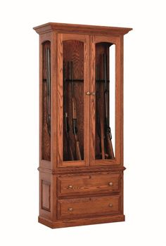 Wood Gun Cabinet - This solid wood gun cabinet has an 8 gun capacity.  You also have the option of choosing from oak, brown maple and cherry wood and a wide variety of stain and paint options for this wood gun cabinet.  We also offer custom gun cabinets if you are looking for something to fit your hunting needs.  Call one of our Amish furniture specialist today for a custom furniture quote.  This wood gun cabinet is sure to become a family heirloom that is passed on for generations.