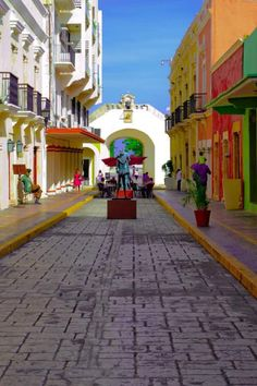 Campeche, Mexico by Nicia Montalvo Brick Paving, Flagstone, Belgian Block, Places To Visit, Street View, Walkways, Mansions, World, House Styles