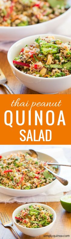 An AMAZING and EASY quinoa salad made with fresh veggies and a creamy thai peanut dressing. It's healthy, fresh, gluten-free AND vegan!