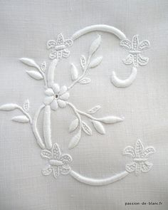 C for Cathleen . Embroidery Alphabet, Embroidery Monogram, Ribbon Embroidery, Machine Embroidery Patterns, Hand Embroidery Designs, Diy Broderie, Drawing Letters, Linens And Lace, Quilt Stitching