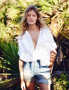 White button-down shirt + denim shorts
