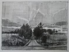 Evening Comes Original Pencil Landscape Drawing by Paintbox