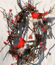 christmas wreath winter cardinal wreath iced by hollyferencze grapevine wreath door wreaths pine cone - Red Cardinal Christmas Decorations