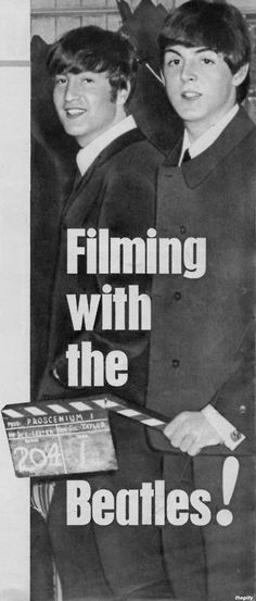 """John and Paul (during the filming of A Hard Day's Night.Scanned from """"The Beatles Film"""" souvenir magazine 1964)"""