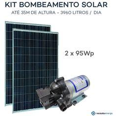 Kit bomba Solar -  Shurflo 2088 - Painel Solar 180Wp Kit Bombeamento Solar SHURFLO 2088 (190Wp)O Kit Bombeamento Solar Shurflo 2088 é a solução completa para bombeamento de até 3.960L de água por dia a uma altura de 35m. O kit contém uma bomba solar Shurflo 2088, que funciona mesmo com pequena irradiação solar. 1 Bomba + 2 paineis (2x 95Wp). Preço: R$1.429,00 em até de 3X de R$ 476,33 sem juros ver todosà vista: R$ 1.371,84 no Boleto (4% desconto) 11 08 2016