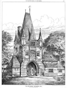 Eccleston Hill Lodge is a gate lodge at the Chester approach to the Eaton Hall estate. It is near the village of Eccleston, Cheshire. The structure is recorded in the National Heritage List as a designated Grade II* listed building. Neoclassical Architecture, Historical Architecture, Architecture Plan, Medieval, Eaton Hall, Cheshire England, Architecture Concept Drawings, Gate House, Fantasy Castle