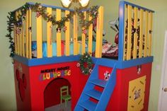 Mickey Mouse clubhouse with sleeping loft, and built in toy closet Mickey Mouse Room, Mickey Mouse Clubhouse, Little Boy Beds, Disney Furniture, Disney Rooms, Sleeping Loft, Toddler Rooms, Toy Rooms, Kids Bedroom