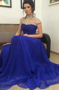 Charming Prom Dress,Chiffon Prom Dress,Beading Prom Dress,High-Neck Evening…