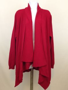 Torrid Size 2 Open Front Cardigan Sweater Red Long Sleeve Asymmetrical Hem  #Torrid #Cardigan