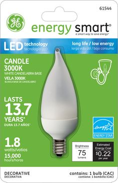 GE Energy Smart 10W Replacement (1.8W) Candle CA11 LED Bulb (Warm, Frosted, E12) $19.95