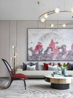 新作   1600㎡现代中式轻奢美学体验营销中心 Interior Design Your Home, Apartment Interior Design, Luxury Interior, Interior Architecture, Living Room Modern, Home Living Room, Stone Cladding, Lobby Design, Hanging Pictures