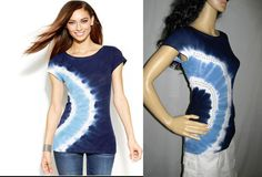 INC International Concepts Blue Embellished Stud Tie-Dye Boho Tee Shirt Top S  #INCInternationalConcepts #Pullover #ANY