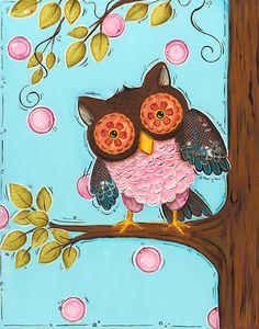Owl Wall Art, Childrens Wall Art, 11x14 Print, Nursery Wall Art, Owl Decor, Playroom. $21.00, via Etsy.