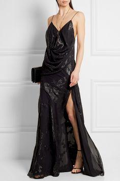 Saint Laurent | Fil coupé silk-blend georgette gown | NET-A-PORTER.COM