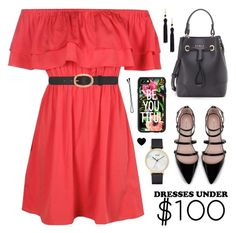 """""""Dresses Under $100"""" by lgb321 ❤ liked on Polyvore featuring Furla, Zara, Boohoo, Kenneth Jay Lane, CLUSE, BOBBY, A.P.C. and Casetify"""