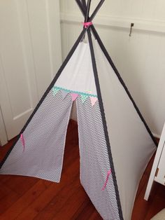 Grey chevron tepee with bunting trim. Poles by NestNFeather Grey Chevron, Bunting, Outdoor Gear, Nest, Feather, Room Ideas, Creative, Handmade, Vintage