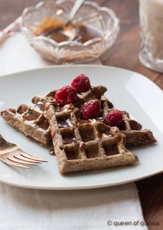 Chocolate Raspberry Waffles with a Chocolate-Peanut Butter Drizzle via Queen of Quinoa-2.jpg by Queen of Quinoa, via Flickr