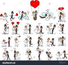 stock-vector-set-of-wedding-pictures-bride-and-groom-in-love-the-vector-85469044.jpg 1500×1437 пикс