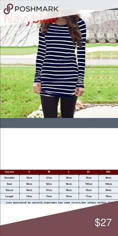 Navy blue and white striped knit tunic Super soft still in packaging.  Gathered  side's This  listing is for a larger. Please check measurements in 2nd picture. Tops Tunics