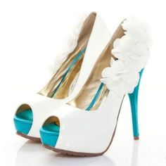 wedding shoes!! an idea to match the bridesmaids teal dresses but with red flowers on the side