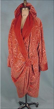 I. Magnin & Co., Coral Embossed Velvet Coat, c. 1919.