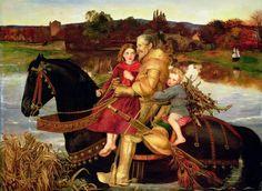 Sogno del passato: Sir Isumbras al guado, John Everett Millais, 1857, olio su tela, 124,4 x 170,1 cm, Port Sunlight (Regno Unito), Lady Lever Art Gallery.