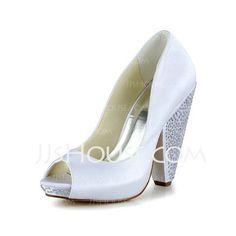 Wedding Shoes - $77.99 - Women's Satin Cone Heel Peep Toe Pumps (047039403) http://jjshouse.com/Women-S-Satin-Cone-Heel-Peep-Toe-Pumps-047039403-g39403