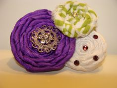 Awesome custom made fabric, satin hand rolled , hand  embellished hand sewn hair clip