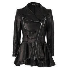 Alexander McQueen Leather Biker Jacket with Peplum ($5,885) ❤ liked on Polyvore