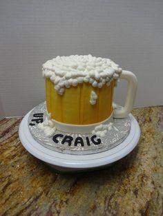 Beer Mug Cake White Cake/Buttercream/GP handle Beer Mug Cake, Cake Design For Men, Glass Cakes, Cakes For Men, Cake Designs, Birthdays, Mugs, Tableware, Handle