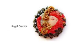 Your place to buy and sell all things handmade Pagan Jewelry, Fantasy Jewelry, Polymer Clay Projects, Polymer Clay Jewelry, Witch Decor, Woodland Fairy, Alphonse Mucha, Art Nouveau Jewelry, Floral Necklace