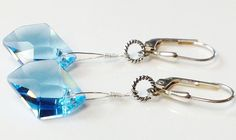 Aquamarine blue Swarovski crystal earrings 925 sterling silver by Emmalishop Swarovski Crystal Earrings, Crystal Jewelry, Sterling Silver Earrings, Blue Earrings, Bridal Earrings, Dangle Earrings, Aquamarine Blue, Affordable Jewelry, Blue Crystals