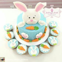 Mini Tortillas, Bunny Birthday, Birthday Cake, Miffy Cake, Easter Cupcakes, Easter Desserts, Brownie Cake, Holiday Cakes, Easter Party