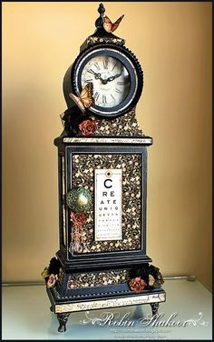 This clock by Robin Shakoor is surely a one-of-a-kind creation! #graphic45 #alteredmedia