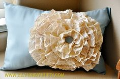 I am going to make this ruffle pillow with the same lace but either a toile or beige main fabric. So lovely!