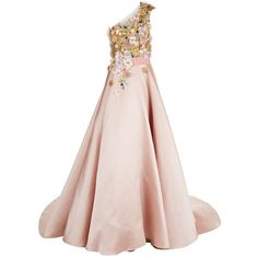 Marchesa Satin Floral Embellished Asymmetric Gown (€8.485) ❤ liked on Polyvore featuring dresses, gowns, one shoulder gown, pink satin dress, beaded gowns, pink floral dress and beaded evening gowns