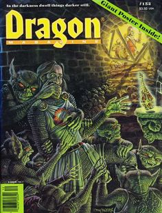 """""""In the darkness dwell things darker still."""" """"Cryson's Reward"""" by Jennell Jaquays, cover of Dragon No 152, TSR, December 1989. Based on another player's AD&D character, Cryson gets his just reward after sneaking away from the party to claim a..."""