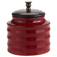 Red Jars with Lids - Pier 1. Set of 3 in a rich red. Love for that pop of color.