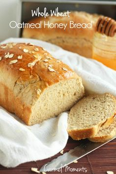Soft and slightly sweet whole wheat oatmeal honey bread. Perfect for sandwiches, toast or buttered up and served with our favorite meal.
