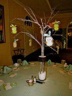 diy branches  centerpiece baby shower | The theme for my shower was owls. Here are three pictures of the ...