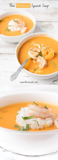 Thai Coconut Butternut Squash Soup! We absolutely love butternut squash soup and this thai butternut soup is one of the many varities we love to make. It's especially great in the fall and winter when you enter soup season. We have a love affair with thai food and this fusion of thai spices with butternut squash, coconut milk, rice and shrimp equals a party in the bowl. The shrimp and rice are optional, but are additions we really enjoy in this thai soup. Fix a bowl tonight if you dare!