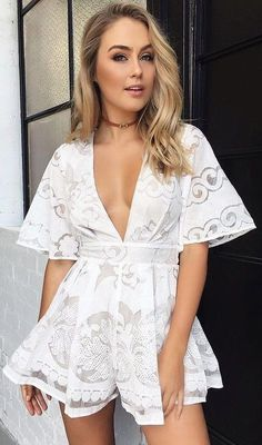 #summer #tigermist #outfits |  White Lace Playsuit