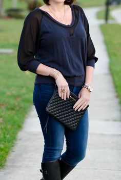 I love the ring, necklace, and cuff bracelet! The right accessories really do spice an outfit up! What I Wore: Date Night Outfit featuring black leather jacket, mixed media top from LeTote, skinny jeans, and riding boots.