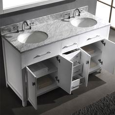 Kayleigh 60 inch double sink vanity set by virtu usa the o 39 jays drawers and carrara for Caroline 60 inch double sink bathroom vanity set